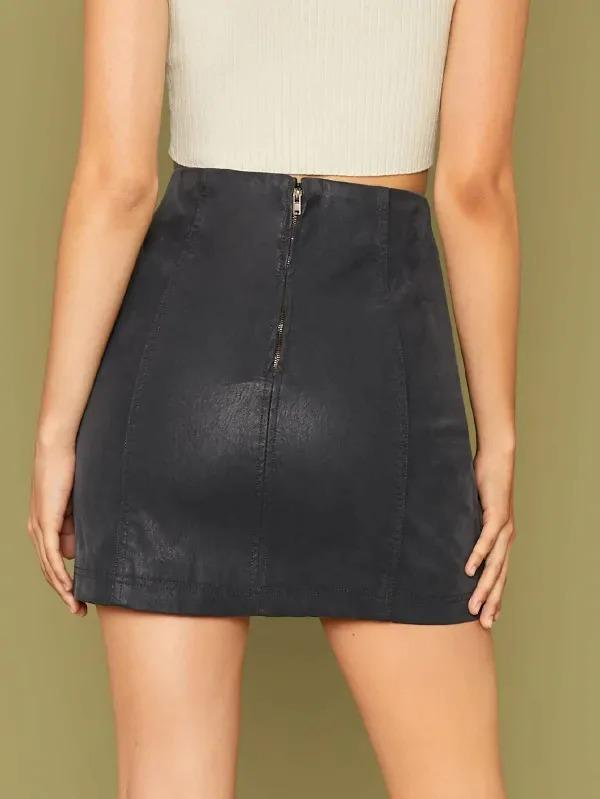 Brushed Faded Faux Leather Mini Skirt
