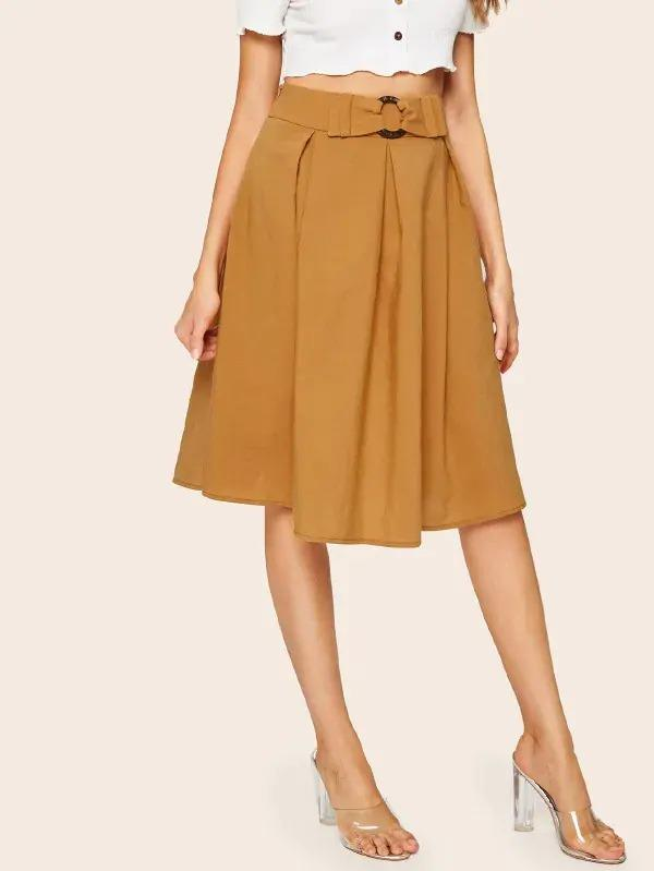 Buckle Belted Pleated Skirt