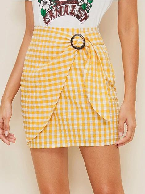 Buckle Belted Wrap Gingham Skirt