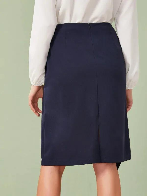 Buckle Detail Wrap Skirt