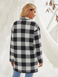 Women Buffalo Plaid Print Open Front Waterfall Coat