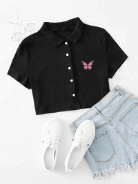 Women Butterfly Print Button Front Rib-knit Crop Top