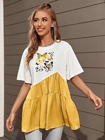 Women Butterfly Print Colorblock Smock Tee