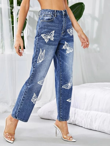 Women Butterfly Print Straight Leg Jeans