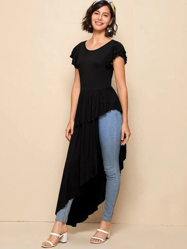 Women Butterfly Sleeve Asymmetrical Hem Top