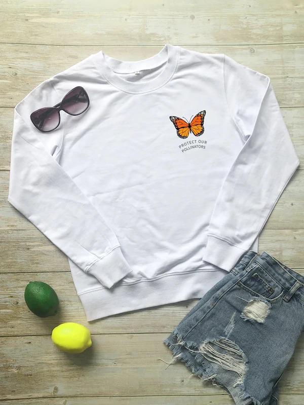 Butterfly And Letter Print Sweatshirt