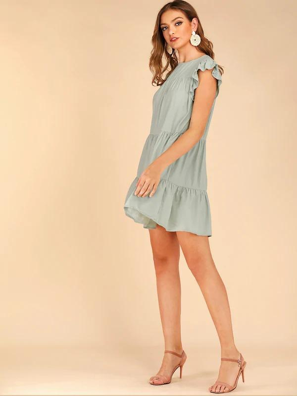 Butterfly Sleeve Babydoll Dress