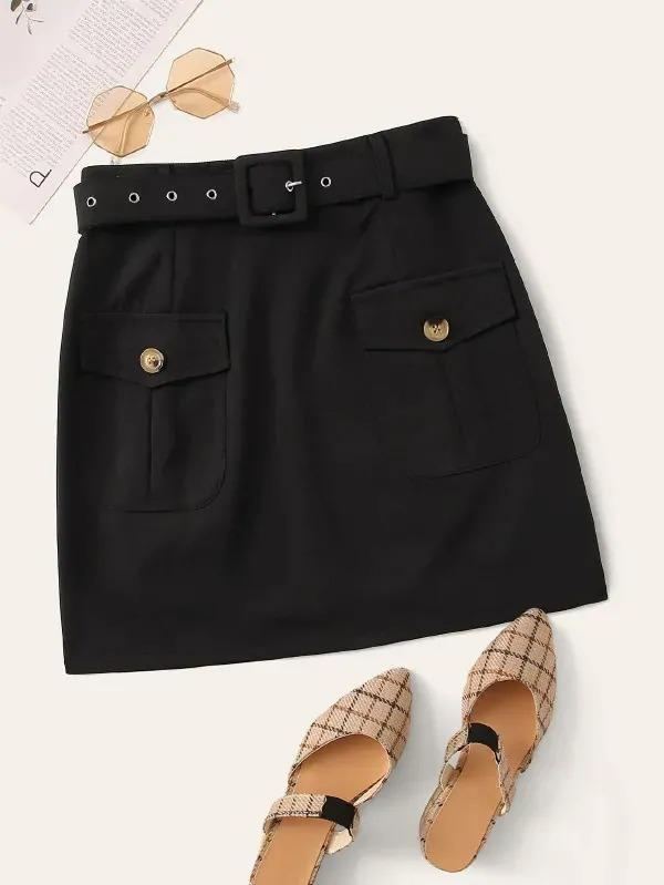 Button Detail Belted Skirt