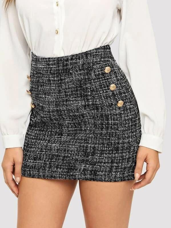Button Detail Frayed Edge Tweed Skirt