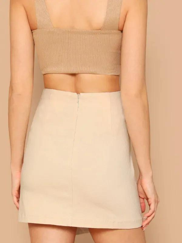 Button Detail Wrap Skirt
