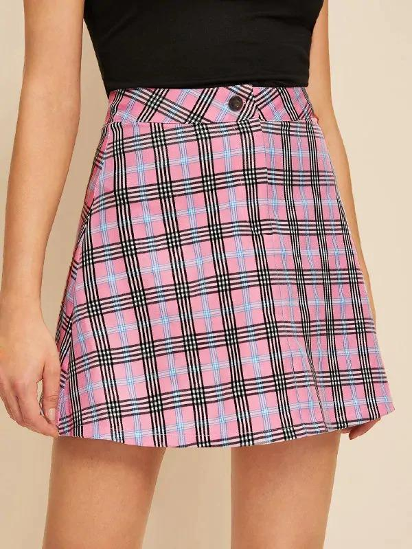 Button Fly Plaid A-Line Skirt