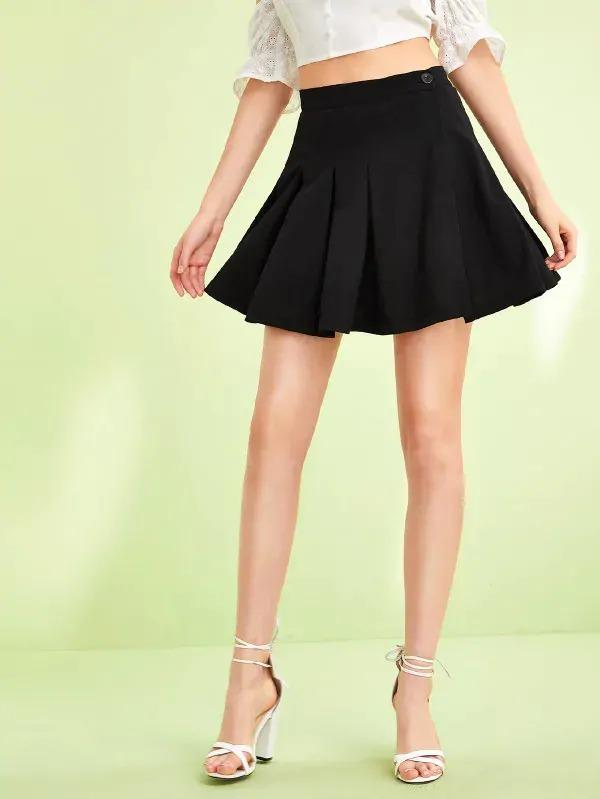 Button Fly Pleated Skater Skirt