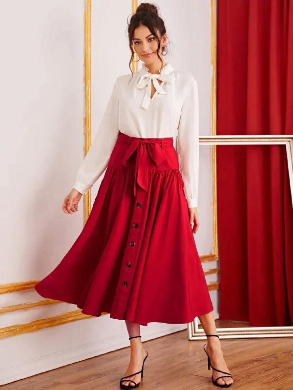 Button Front Belted Flare Skirt