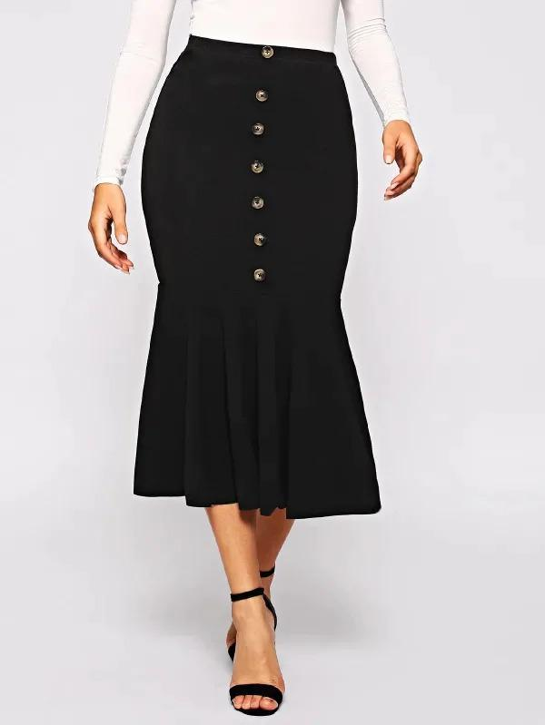 Button Front Fishtail Hem Skirt