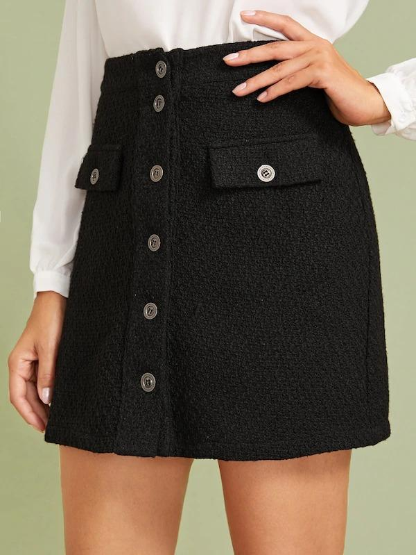 Button Front Flap Detail Tweed Skirt
