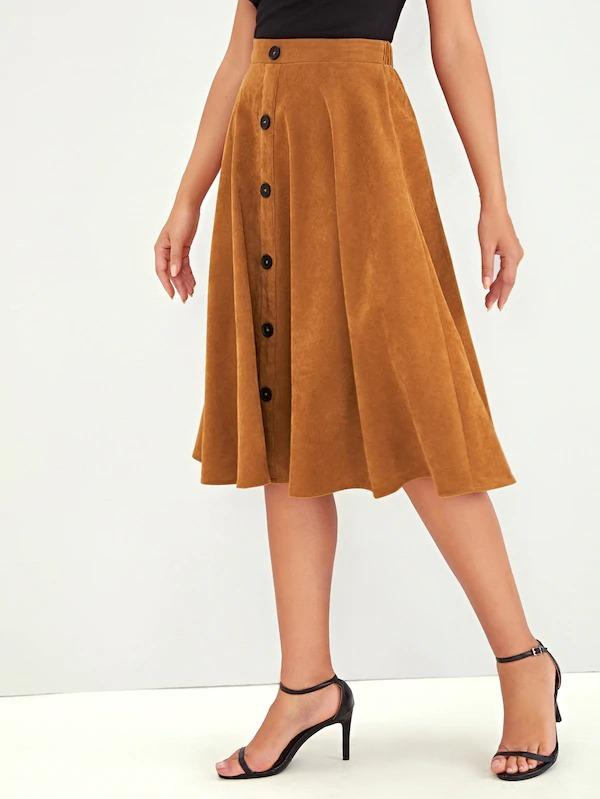 Button Front Flare Midi Skirt