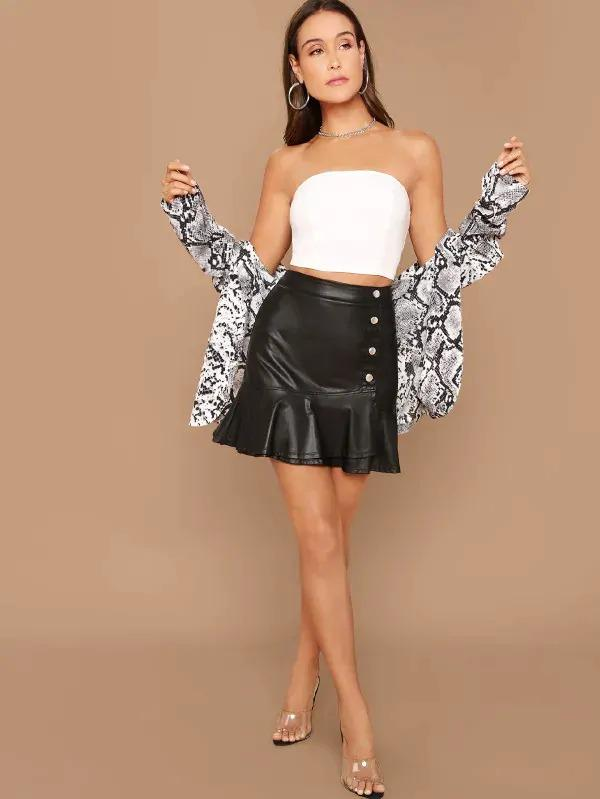 Button Front Flounce Hem Leather Look Skirt