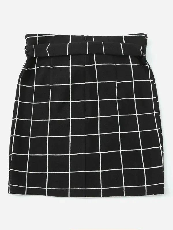 Button Front Grid Belted Skirt