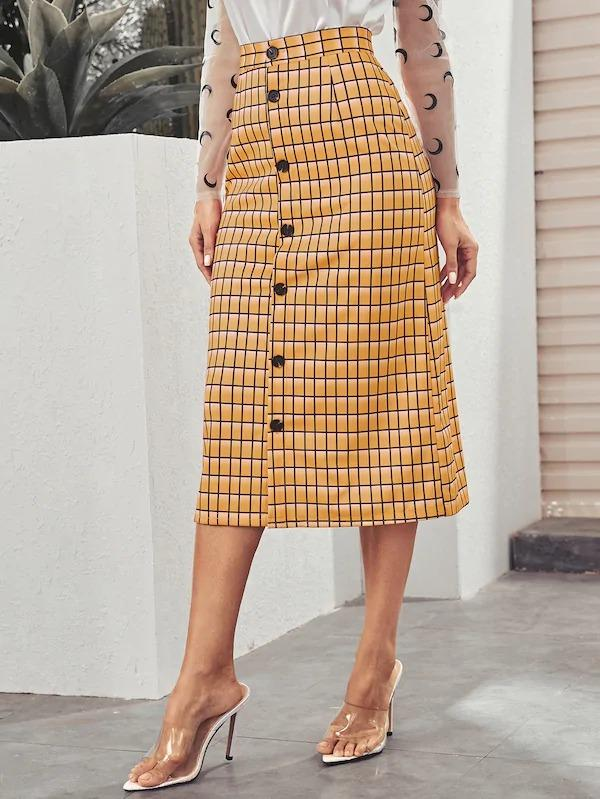 Button Front Grid Midi Skirt