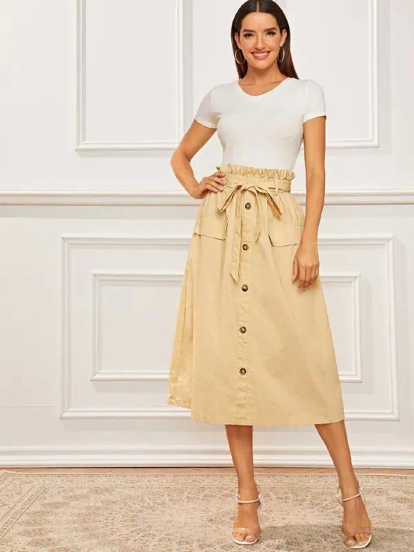 Button Front Paperbag Waist Belted Skirt
