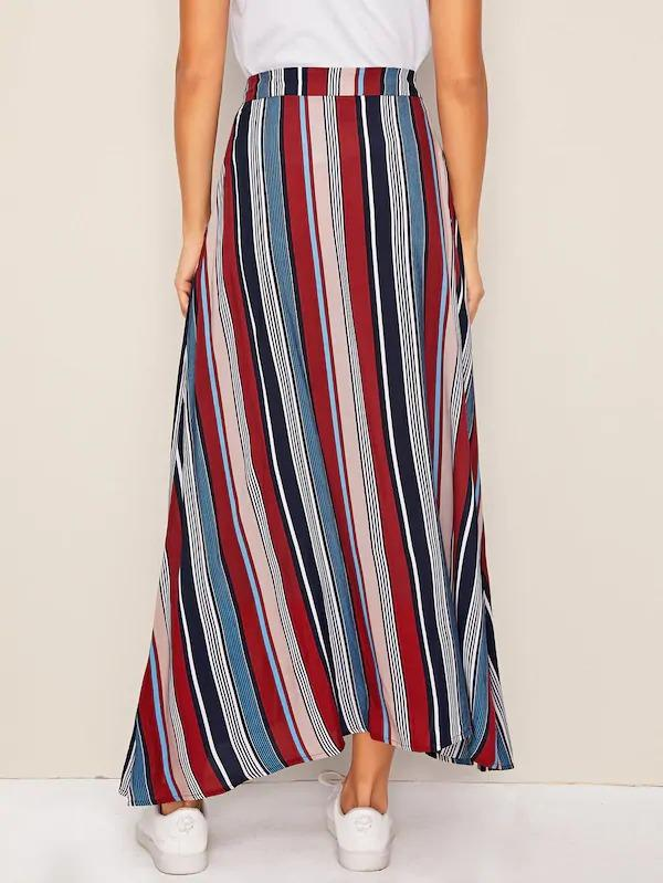 Button Front Patch Pocket Striped Skirt