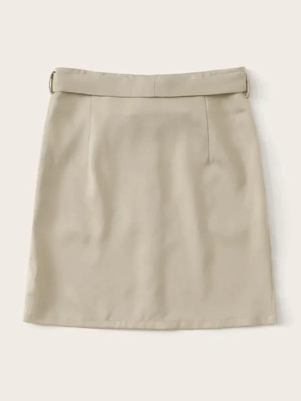 Button Front Pocket Patch Belt Skirt