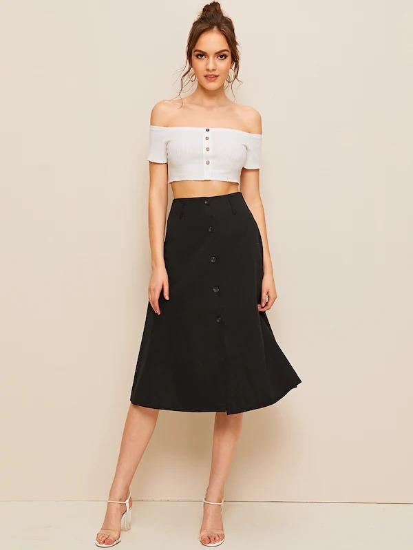 Button Front Solid A-Line Skirt