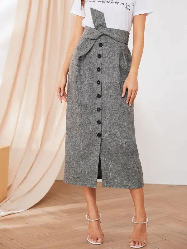 Button Front Tie Waist Straight Skirt