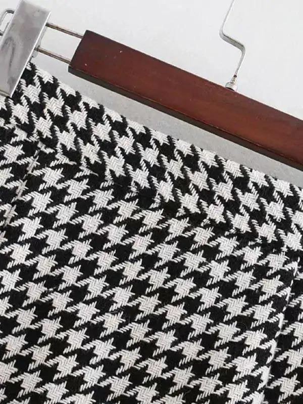 Button Through Houndstooth Skirt