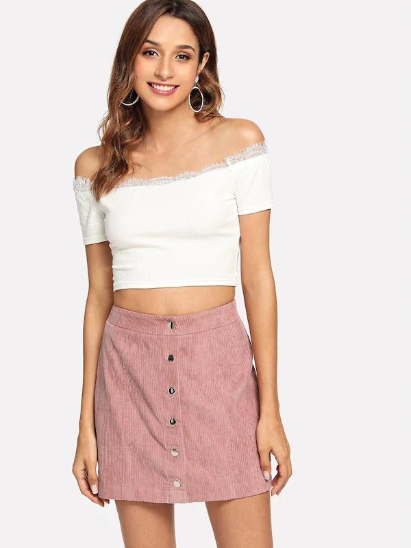 Button Up Cord Skirt