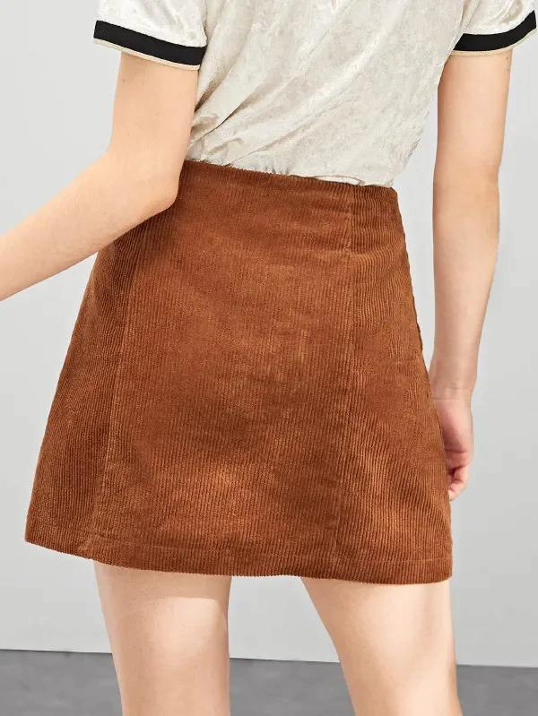 Button Up Corduroy Skirt