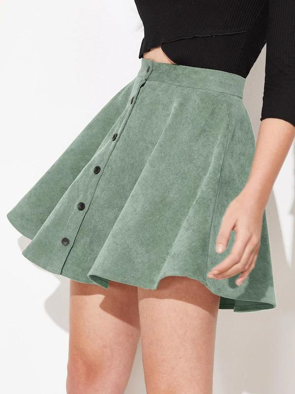 Button Up Flare Corduroy Skirt
