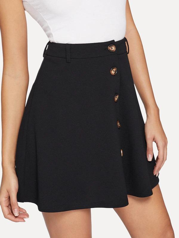 Button Up Solid A-Line Skirt