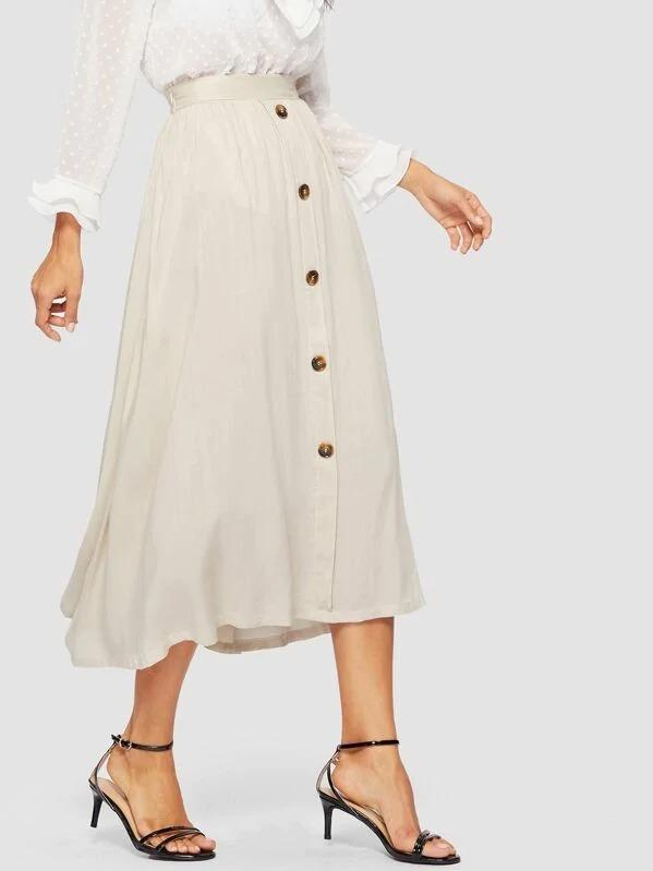 Button Up Solid Flare Skirt