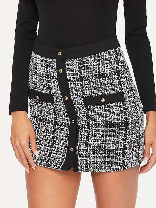 Button Up Tweed Plaid Bodycon Skirt