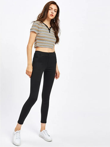 Women Button Detail Solid Skinny Jeans