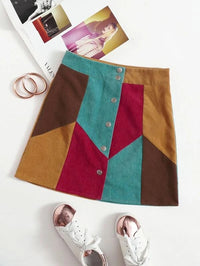 Women Button Fly Colorblock Skirt
