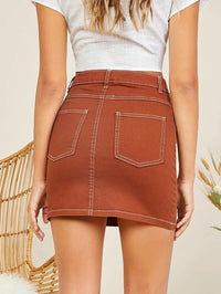 Women Button Fly Denim Mini Pencil Skirt