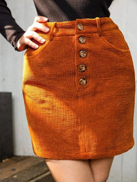 Women Button Fly Solid Cord Skirt