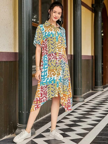 Women Button Front Asymmetrical Hem Allover Print Shirt Dress