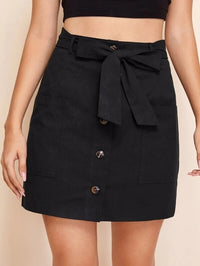 Women Button Front Belted Straight Skirt