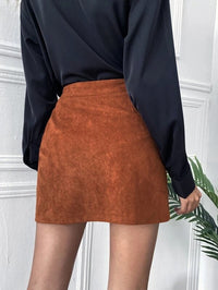 Women Button Front Dual Pocket Suede Straight Skirt
