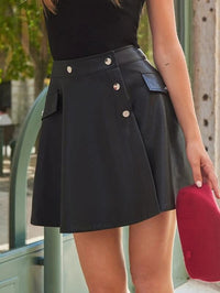Women Button Front Flap Detail PU Leather Skirt