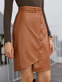 Women Button Front PU Leather Skirt