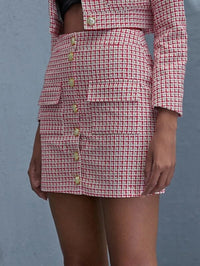 Women Button Front Plaid Tweed Skirt