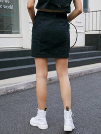 Women Button Front Pocket Patched Belted Skirt Without Chain Belt