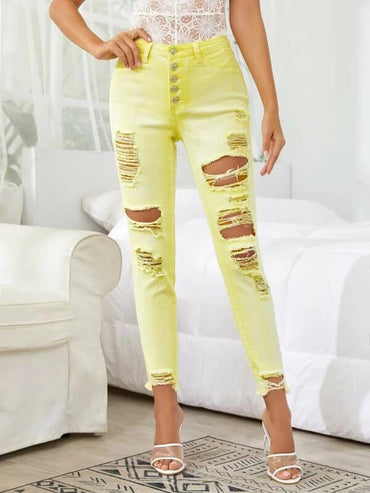 Women Button Front Raw Hem Ripped Jeans
