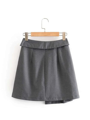 Women Button Front Solid Asymmetrical Skirt