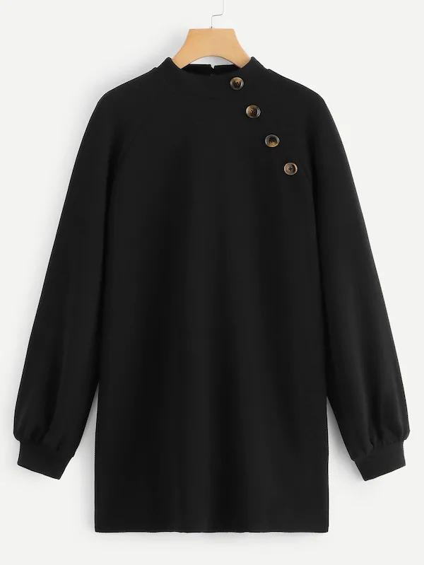 Button Detail Keyhole Back Sweatshirt