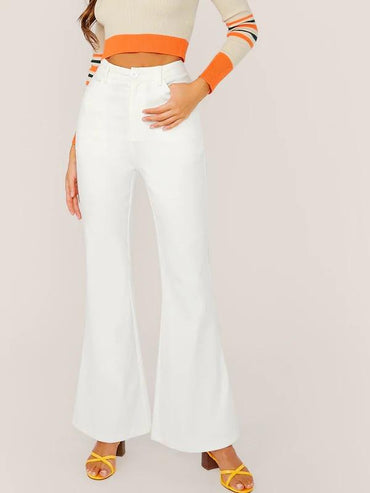 Button Fly Flare Leg Solid Pants